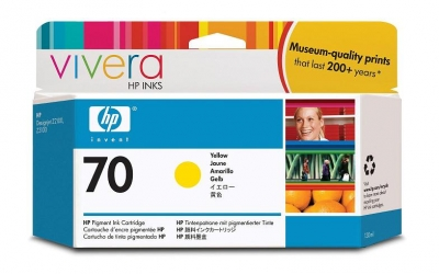 IdealOffice, HP 70 130 ml Yellow Ink Cartridge with Vivera Ink, HP Designjet Z2100, Z3100 /C9454A/115 лв с ДДС